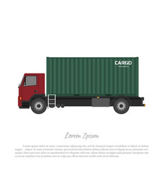 Cargo truck carrying a freight container vector