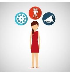 cartoon girl movie icons vector image