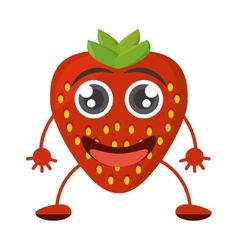 cartoon tasty strawberry fruit vector image vector image