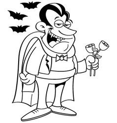 Cartoon vampire holding roses vector