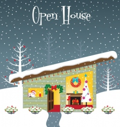Christmas open house vector image vector image