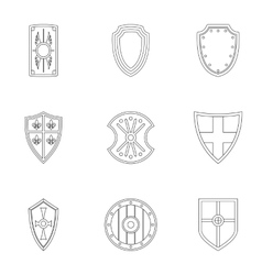 Combat shield icons set outline style vector