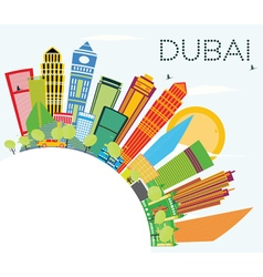 Dubai Skyline with Color Buildings vector image vector image