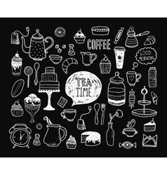 Hand drawn tea time collection vector image vector image
