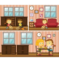 House scene with kids doing different activities vector