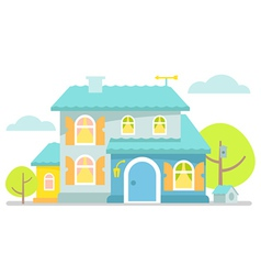 Nice little blue cottage vector image vector image