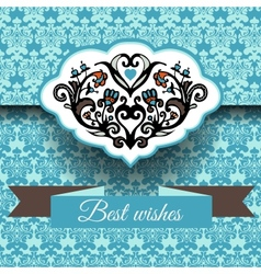 Royal damask ornament frame background vector image