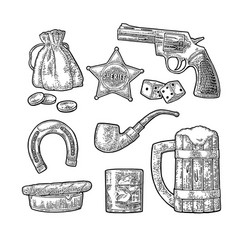 Set with wild west and casino symbols vector