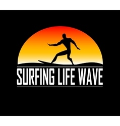 silhouettes of surfer vector image vector image