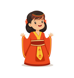 smiling girl wearing red dress national costume vector image vector image