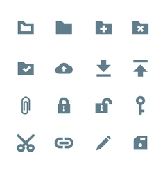 Solid grey various file actions icons set vector
