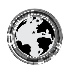 technology cyber abstract world circle background vector image