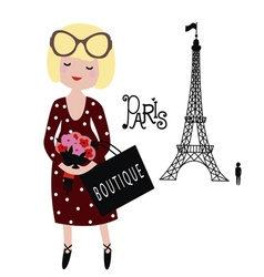 The girl in Paris vector image vector image