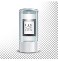 Transparent glass museum showcase podium with dark vector