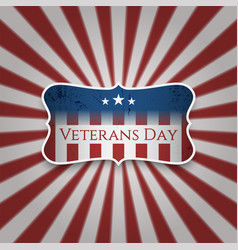 Vintage emblem with veterans day text vector