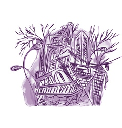 Violet abstract city vector