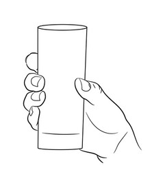 Woman hand holding an empty glass on white vector
