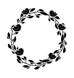 Wreath floral decorative icon vector