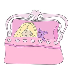 Little girl sleeping with her bear toy vector