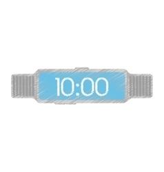 steel digital smart watch time screen vector image