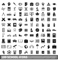 100 school icons set in simple style vector image