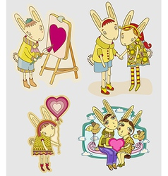Set of funny hare vector