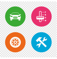transport icons tachometer and repair tool vector image