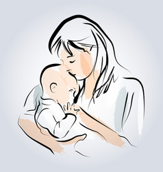 Color line sketch of a mother with a child vector