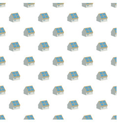 House with solar batteries on the roof pattern vector