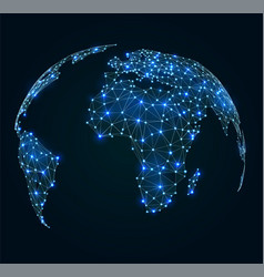 World map with shining points network connections vector
