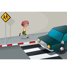 A boy running near the pedestrian lane vector