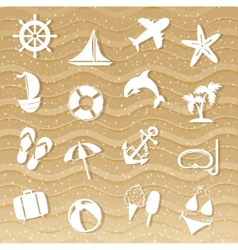 Beach with sea icons vector