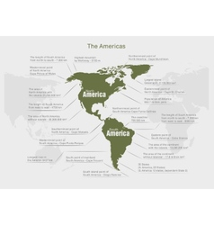 Infographics continent america green and gray vector