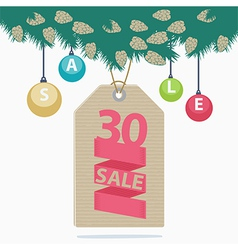 30 percent reduction Christmas sale label vector image