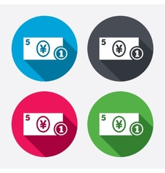 Cash sign icon yen money symbol coin vector