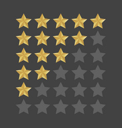 3d five stars rating icon set isolated quality vector