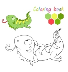 Coloring book iguana kids layout for game vector