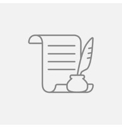 Paper scroll with feather pen line icon vector