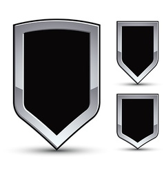 Set of heraldic black emblem with silver outline vector