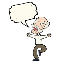 Cartoon old man having a fright with speech bubble vector