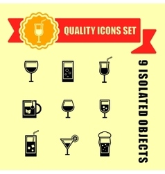 Quality glasses icon set vector