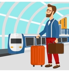 Man with suitcase on wheels and briefcase vector