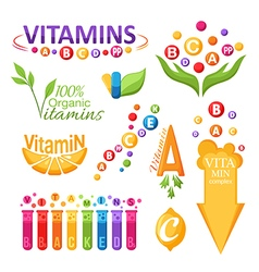 Vitamins symbols emblems and icons for design vector