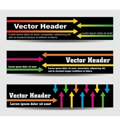 Headers with arrows and text vector image