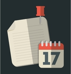 Calendar and document icon office instrument vector