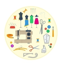 Round concept sewing equipment vector