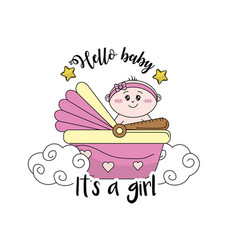 Baby shower card to welcome a girl vector