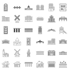 Church icons set outline style vector