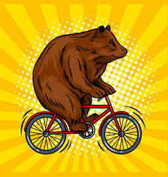 circus bear on bicycle pop art vector image vector image