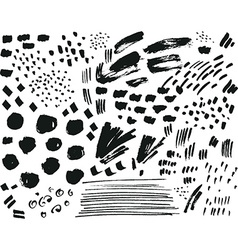 Collection of black ink brush points spatters vector